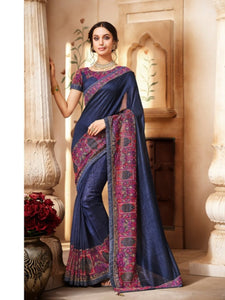 Party Wear Nakkashi NAK1060 Designer Blue Handloom Silk Saree - Fashion Nation