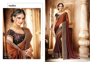 Pretty Nakkashi NAK1061 Designer Shaded Coffee Satin Georgette Silk Saree - Fashion Nation