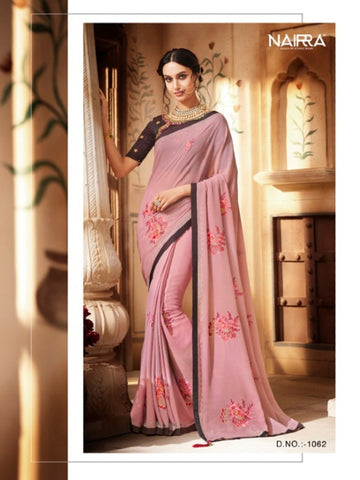 Suave Nakkashi NAK1062 Designer Pink Burgundy Silk Saree - Fashion Nation
