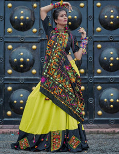 Great RS1065 Navaratri Special Green Black Multicoloured Cotton Lehenga Choli - Fashion Nation