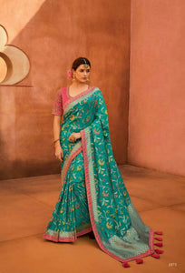 Designer KIM1075 Dressy Aqua Pink Banarasi Silk Saree @ Fashion Nation