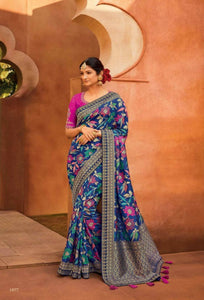 Astounding KIM1077 Gorgeous Multicoloured Purple Banarasi Silk Saree - Fashion Nation
