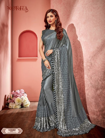 Glamorous MAH10802 Cocktail Wear Grey Weaving Silk Lycra Net Frilled Saree by Fashion Nation