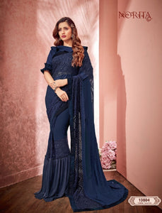 Stylish MAH10804 Cocktail Wear Blue Weaving Silk Lycra Net Ruffles Saree - Fashion Nation