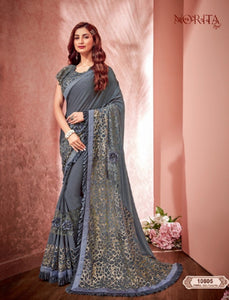 Gorgeous MAH10805 Cocktail Wear Grey Weaving Silk Lycra Net Saree by Fashion Nation