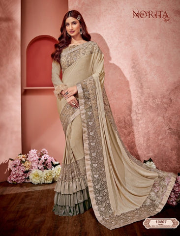 Fantastic MAH10807 Cocktail Wear Beige Grey Weaving Silk Lycra Net Ruffled Saree by Fashion Nation