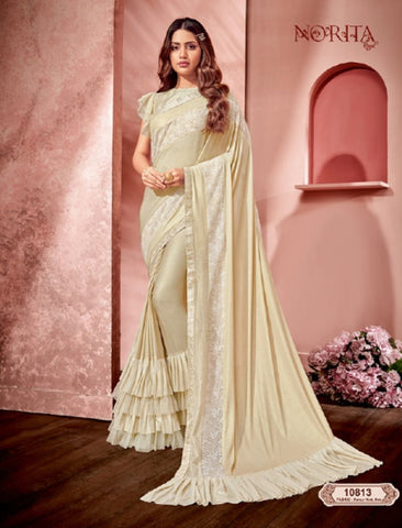 Dainty MAH10813 Cocktail Wear Off-White Weaving Silk Lycra Net Ruffles Layered Saree by Fashion Nation
