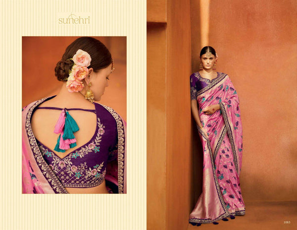 Finest KIM1083 Bridal Pink Purple Banarasi Silk Saree - Fashion Nation