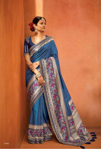 Appealing KIM1084 Bridal Blue Multicoloured Banarasi Silk Saree - Fashion Nation.in