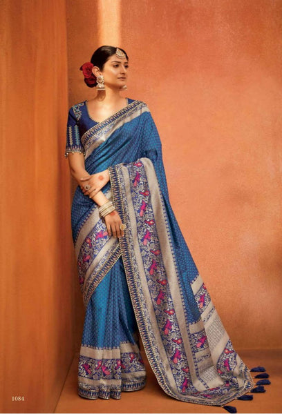Appealing KIM1084 Bridal Blue Multicoloured Banarasi Silk Saree - Fashion Nation
