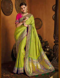 Kajal Aggarwal Outstanding KIM1102 Bridal Lime Green Pink Silk Saree by Fashion Nation