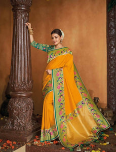 Ethnic Kajal Aggarwal KIM1103 Bridal Yellow Blue Silk Saree by Fashion Nation