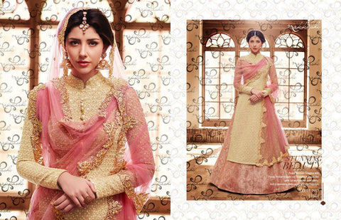 Ethnic NAK11044 PartyWear Peach Yellow Silk Brocade Anarkali Lehenga - Fashion Nation