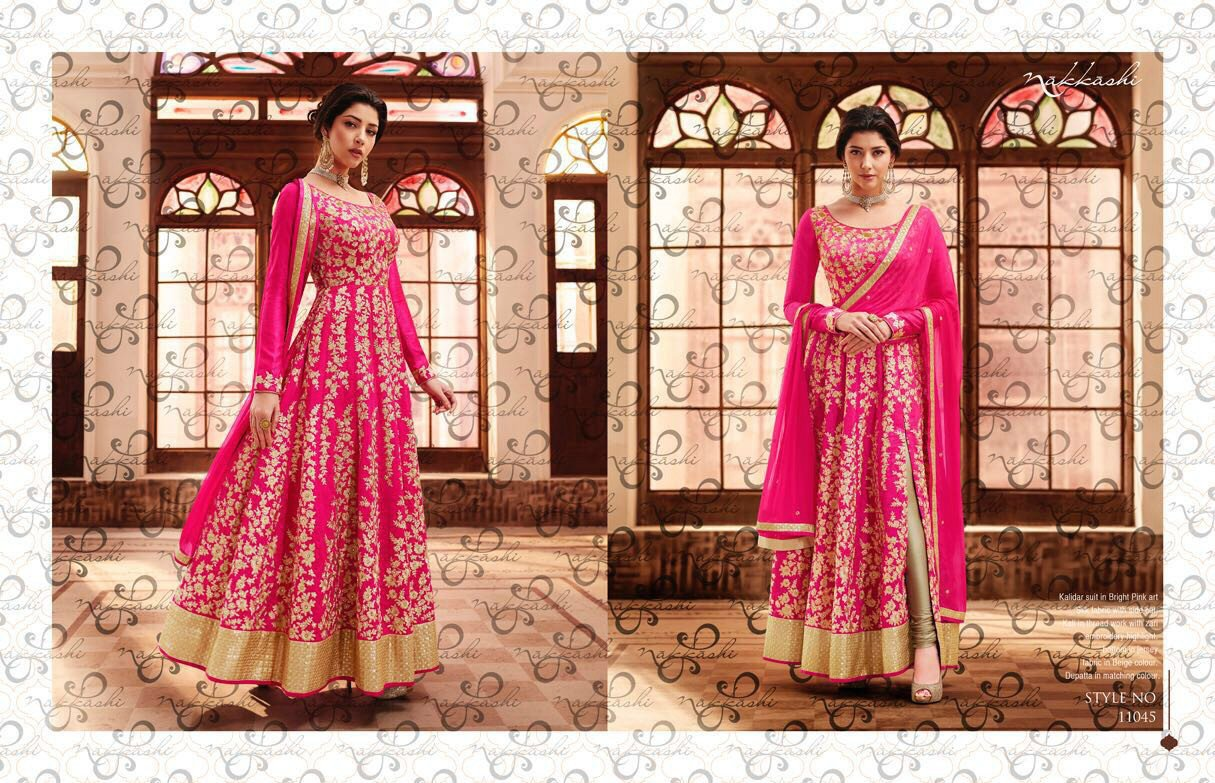 Bright NAK11045 PartyWear Pink Beige Silk Anarkali - Fashion Nation