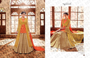 Traditional NAK11046 PartyWear Peach Yellow Beige Brocade Silk Net Anarkali Lehenga - Fashion Nation