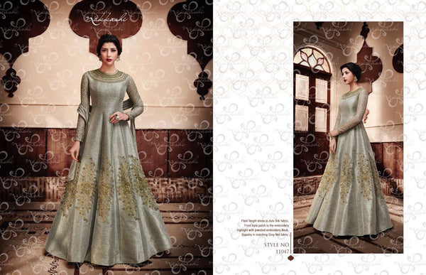 Dressy NAK11047 PartyWear Indo Western Grey Jute Silk Net Anarkali Gown - Fashion Nation