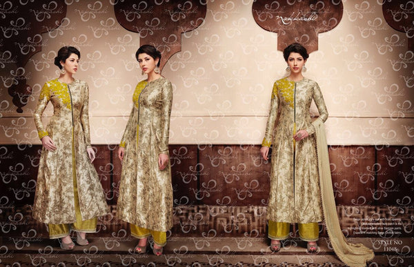 Latest NAK11048 PartyWear Beige Olive Silk Jacket Style Anarkali - Fashion Nation
