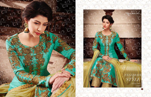 Stylish NAK11049 PartyWear Yellow Blue Banarasi Silk Jacket Style Anarkali - Fashion Nation
