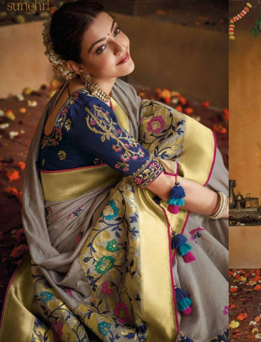 Traditional Kajal Aggarwal KIM1104 Bridal Lavender Blue Silk Saree by Fashion Nation