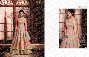 Glamorous NAK11050 PartyWear Peach Beige Banarasi Silk Net Anarkali Lehenga - Fashion Nation
