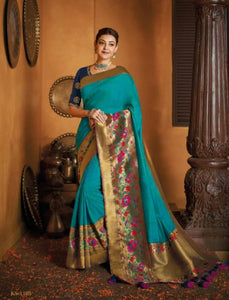 Handcrafted Kajal Aggarwal KIM1105 Bridal Turquoise Blue Silk Saree by Fashion Nation