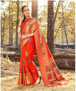 Beautiful Orange Weaving Silk Attractive Saree with Blouse by  Fashion Nation
