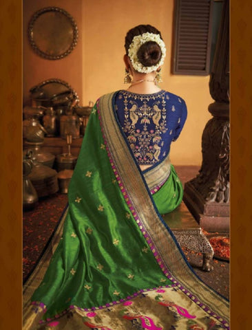 Handpicked Kajal Aggarwal KIM1106 Bridal Green Blue Silk Saree - Fashion Nation.in