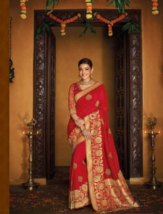 Bright Kajal Aggarwal KIM1107 Bridal Red Silk Saree - Fashion Nation