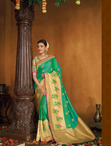 Delicate Kajal Aggarwal KIM1108 Bridal Aqua Beige Silk Saree - Fashion Nation.in