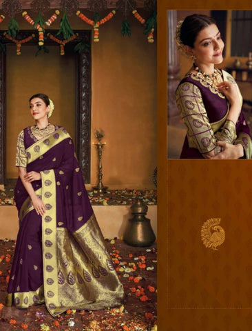 Curated Kajal Aggarwal KIM1109 Bridal Purple Silk Saree - Fashion Nation.in
