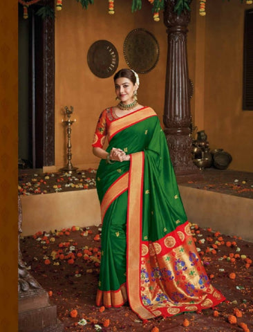 Beautiful Kajal Aggarwal KIM1110 Bridal Red Green Silk Saree - Fashion Nation
