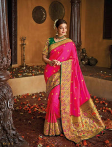 Unique Kajal Aggarwal KIM1111 Bridal Pink Green Silk Saree by Fashion Nation