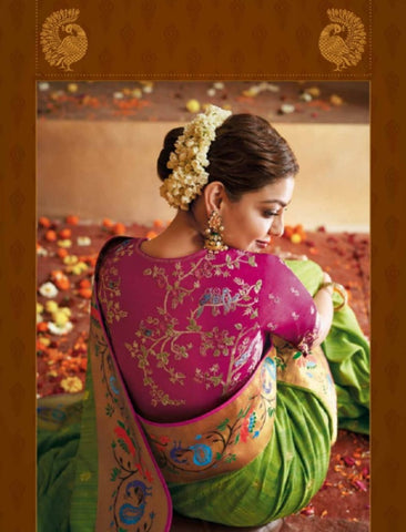 Wedding Special Kajal Aggarwal KIM1113 Bridal Magenta Green Silk Saree by Fashion Nation