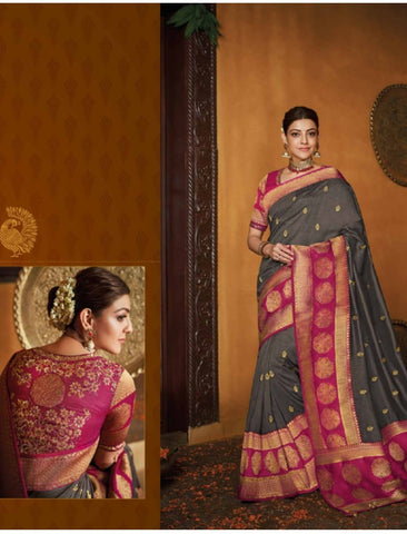 Festive Kajal Aggarwal KIM1114 Bridal Magenta Grey Silk Saree - Fashion Nation.in