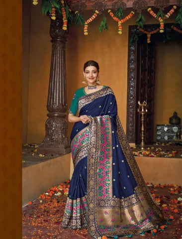 Finest Kajal Aggarwal KIM1115 Bridal Blue Silk Saree - Fashion Nation.in