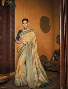 Latest Kajal Aggarwal KIM1116 Bridal Beige Blue Silk Saree - Fashion Nation.in