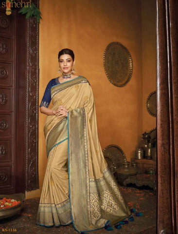 Latest Kajal Aggarwal KIM1116 Bridal Beige Blue Silk Saree by Fashion Nation