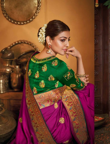 Nice Kajal Aggarwal KIM1117 Bridal Purple Green Silk Saree - Fashion Nation.in