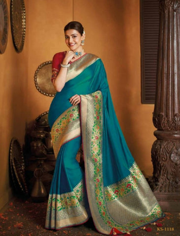 Gorgeous Kajal Aggarwal KIM1118 Bridal Blue Silk Saree by Fashion Nation