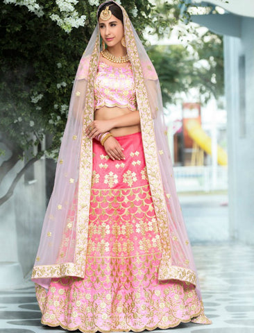 Bridal VAS1201 Festive Pink Silk Net Lehenga Choli - Fashion Nation