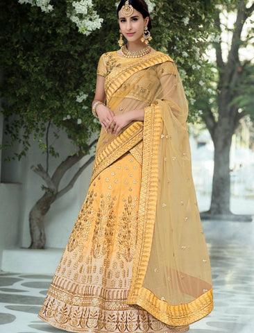 Wedding Wear VAS1202 Designer Yellow Beige Silk Net Lehenga Choli by Fashion Nation