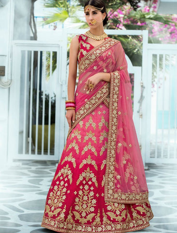Rajasthani VAS1203 Heritage Pink Magenta Silk Net Lehenga Choli by Fashion Nation