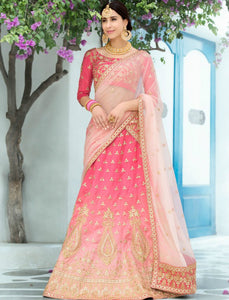 Jaipuri VAS1204 Latest Shaded Pink Silk Net Lehenga Choli by Fashion Nation