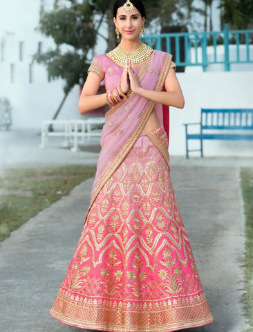 Trendy VAS1205 Shaded Lavender Pink Silk Net Lehenga Choli by Fashion Nation