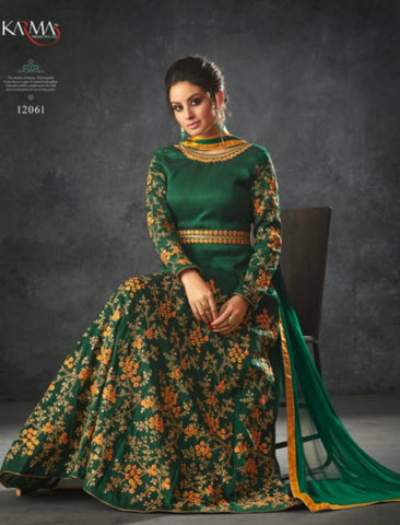 Superb Indo Western K12061 Green Raw Silk Anarkali Gown by Fashion Nation