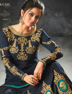 Excellent Indo Western K12062 Blue Raw Silk Anarkali Gown by Fashion Nation