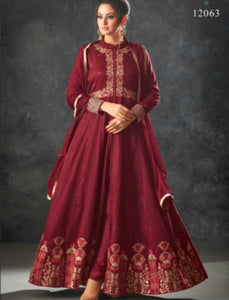 Trendy Indo Western K12063 Maroon Raw Silk Anarkali with Pants by Fashion Nation