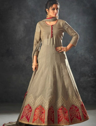 Curated Indo Western K12064 Grey Raw Silk Anarkali Gown by Fashion Nation