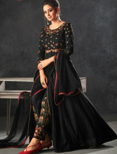 Partywear Indo Western K12065 Black Raw Silk Anarkali with Pants by Fashion Nation
