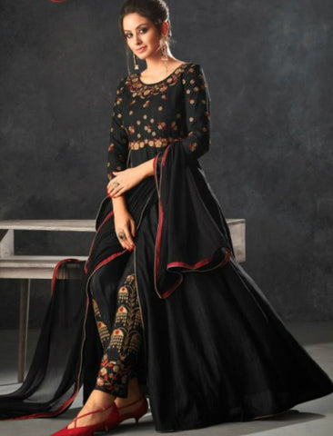 Partywear Indo Western K12065 Black Raw Silk Anarkali with Pants - Fashion Nation